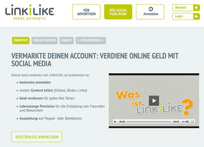 Verdiene Geld mit Social Media durch LinkiLike