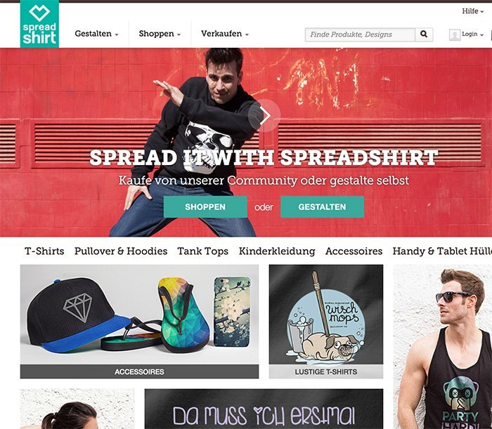 Spreadshirt Homepage