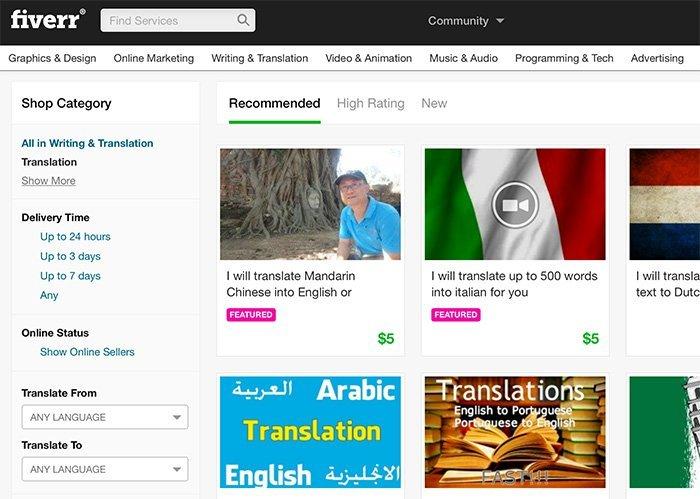 Übersetzungen bei Fiverr anbieten