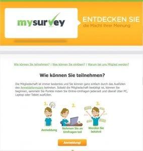 Mit MySurvey an bezahlten Umfragen teilnehmen